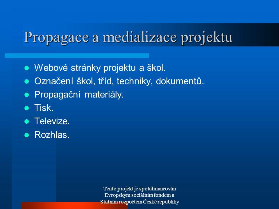 Tento projekt je spolufinancován Evropským sociálním fondem a Státním rozpočtem České republiky Propagace a medializace projektu Webové stránky projektu a škol.