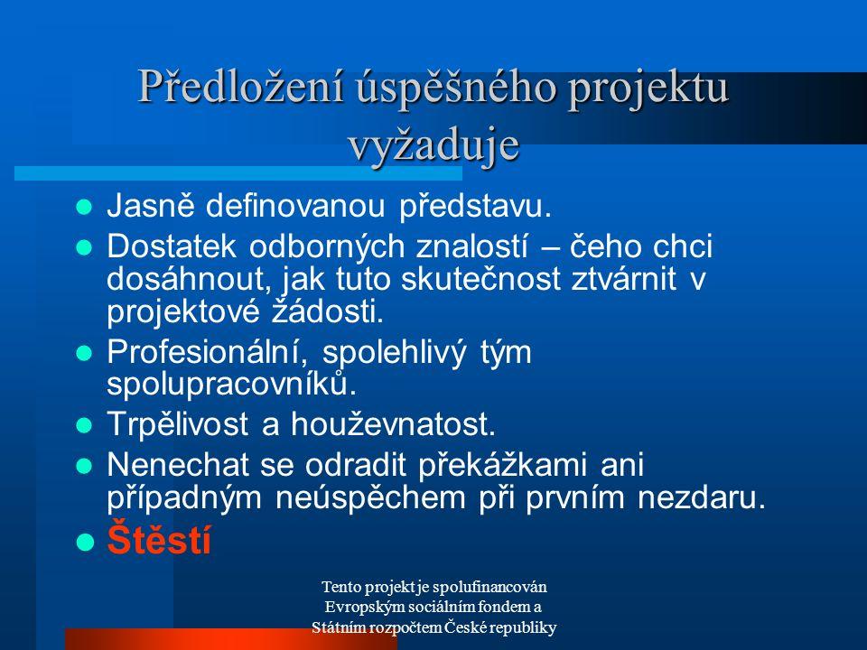 Tento projekt je spolufinancován Evropským sociálním fondem a Státním rozpočtem České republiky Předložení úspěšného projektu vyžaduje Jasně definovanou představu.