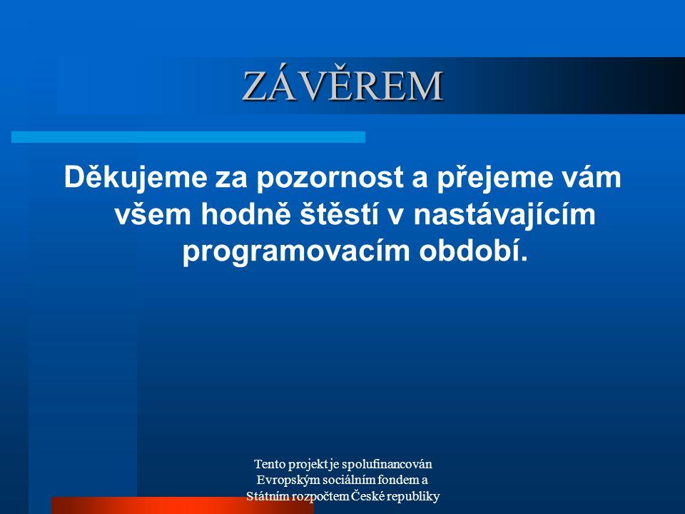 Tento projekt je spolufinancován Evropským sociálním fondem a Státním rozpočtem České republiky ZÁVĚREM Děkujeme za pozornost a přejeme vám všem hodně štěstí v nastávajícím programovacím období.
