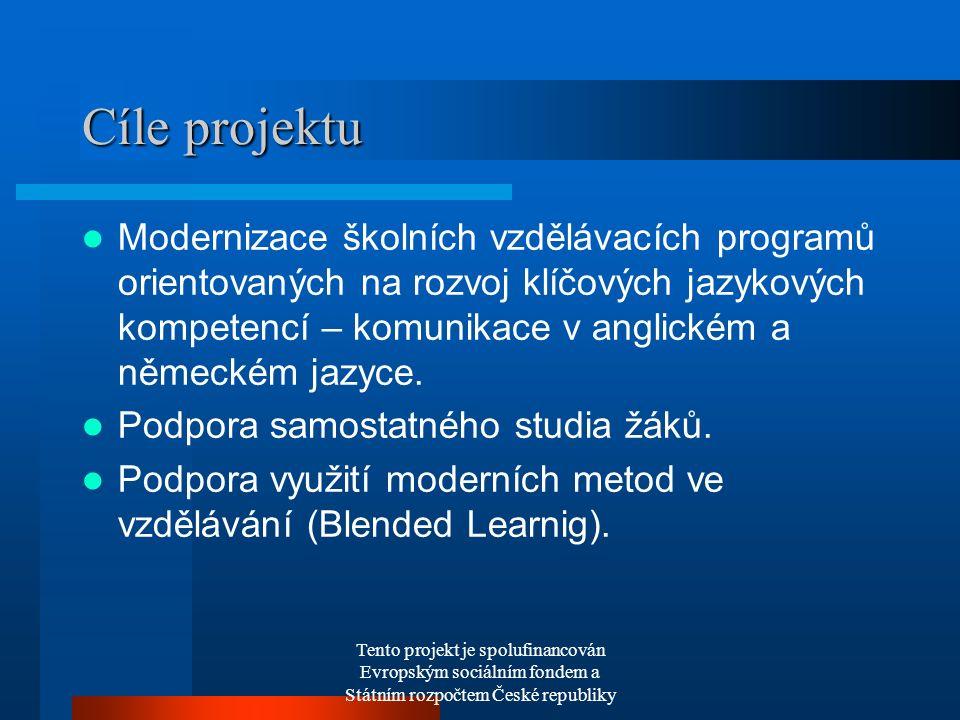 Tento projekt je spolufinancován Evropským sociálním fondem a Státním rozpočtem České republiky Cíle projektu Modernizace školních vzdělávacích programů orientovaných na rozvoj klíčových jazykových kompetencí – komunikace v anglickém a německém jazyce.