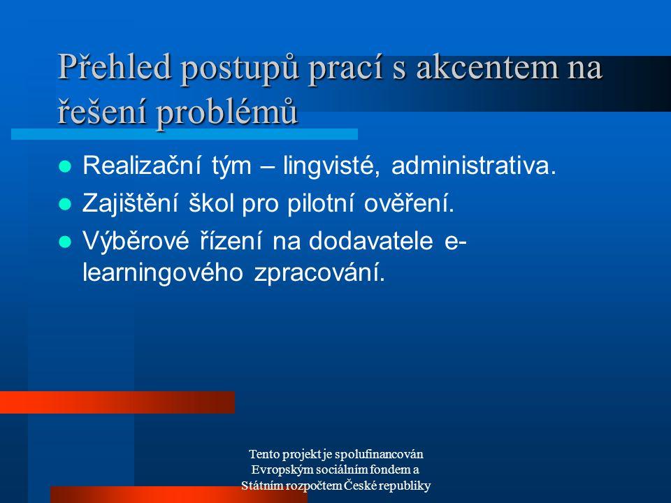 Tento projekt je spolufinancován Evropským sociálním fondem a Státním rozpočtem České republiky Přehled postupů prací s akcentem na řešení problémů Realizační tým – lingvisté, administrativa.