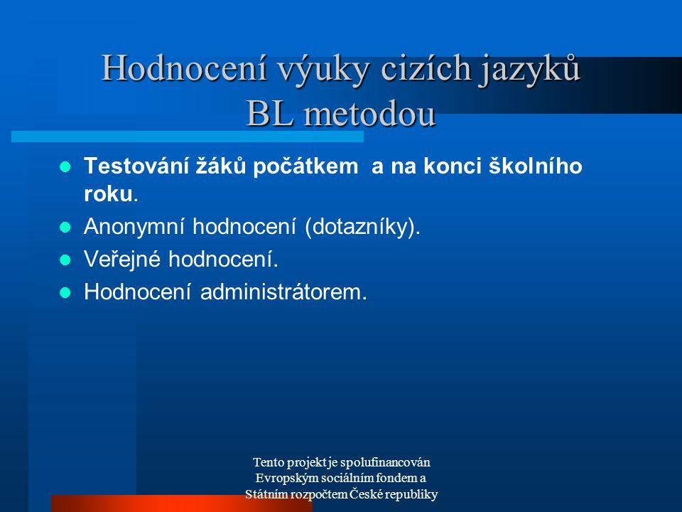 Tento projekt je spolufinancován Evropským sociálním fondem a Státním rozpočtem České republiky Hodnocení výuky cizích jazyků BL metodou Testování žáků počátkem a na konci školního roku.