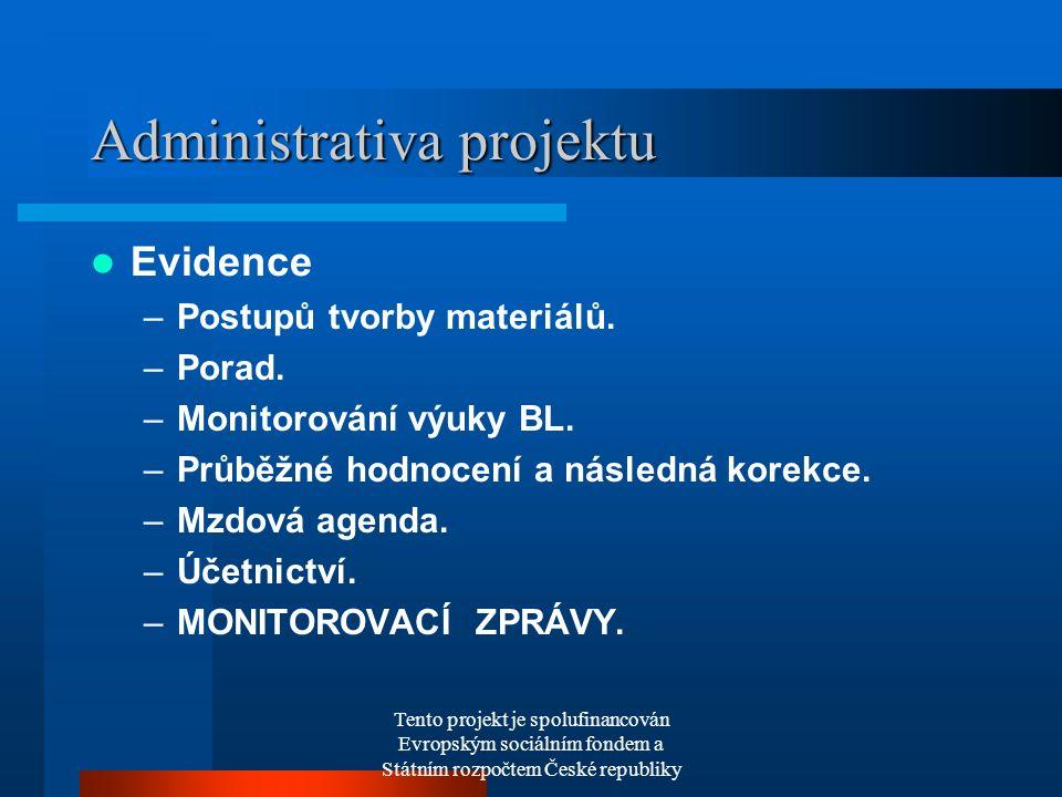 Tento projekt je spolufinancován Evropským sociálním fondem a Státním rozpočtem České republiky Administrativa projektu Evidence –Postupů tvorby materiálů.