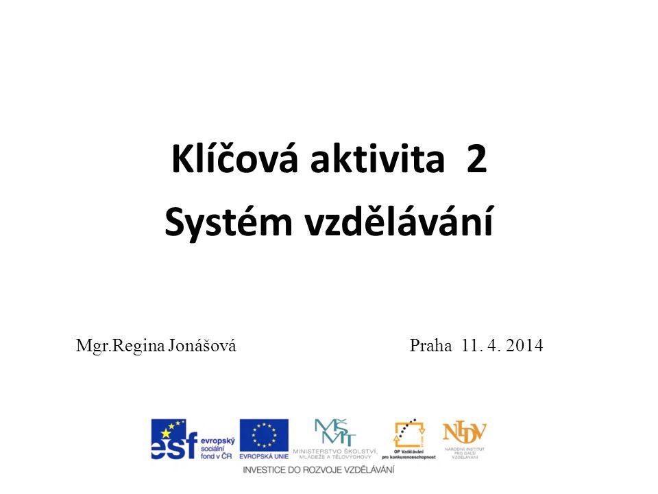 Klíčová aktivita 2 Systém vzdělávání Mgr.Regina Jonášová Praha 11. 4. 2014