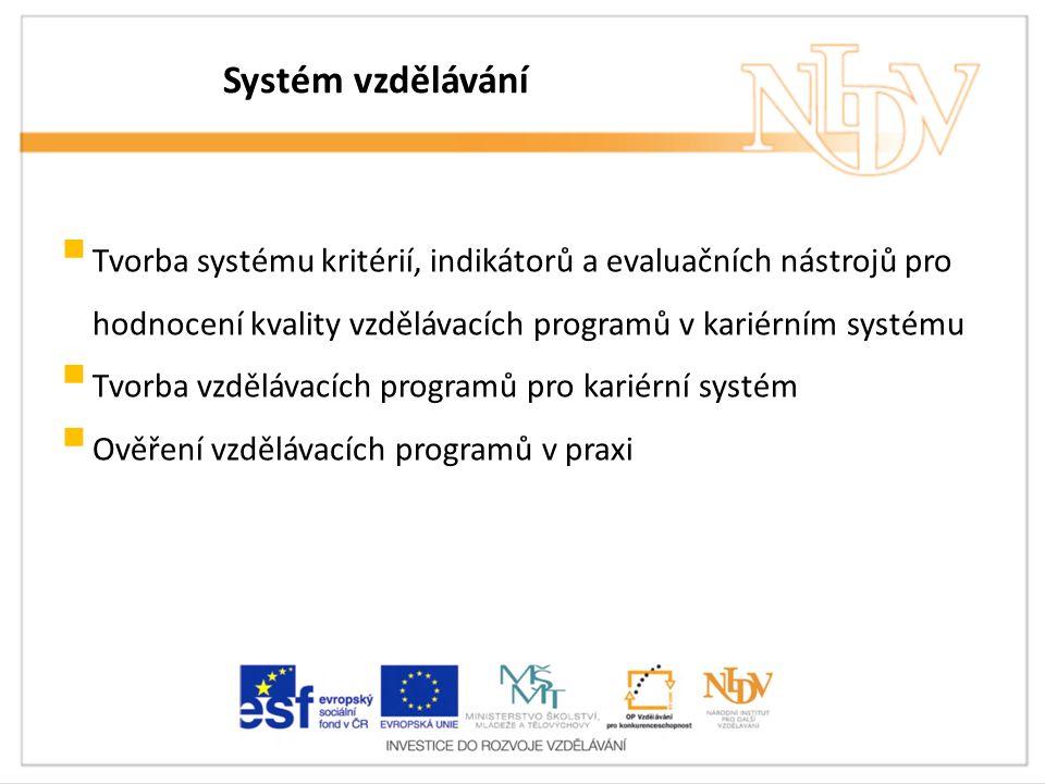 Systém vzdělávání  Tvorba systému kritérií, indikátorů a evaluačních nástrojů pro hodnocení kvality vzdělávacích programů v kariérním systému  Tvorba vzdělávacích programů pro kariérní systém  Ověření vzdělávacích programů v praxi