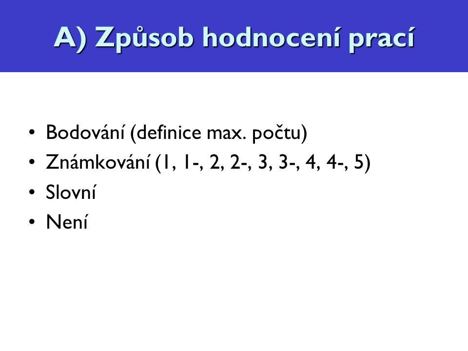 Hodnocení prací Bodování (definice max.