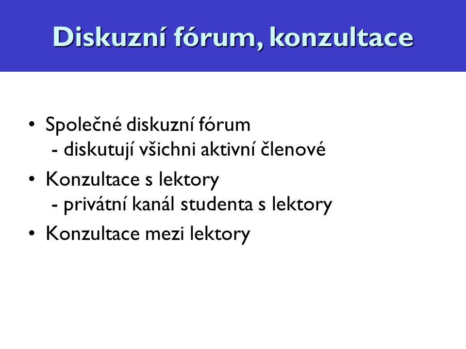 Diskuzní fórum, konzultace Společné diskuzní fórum - diskutují všichni aktivní členové Konzultace s lektory - privátní kanál studenta s lektory Konzultace mezi lektory Diskuzní fórum, konzultace