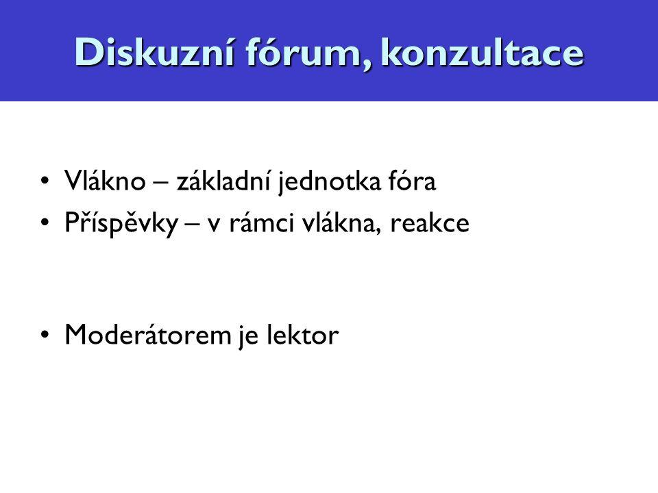 Vlákno – základní jednotka fóra Příspěvky – v rámci vlákna, reakce Moderátorem je lektor Diskuzní fórum, konzultace
