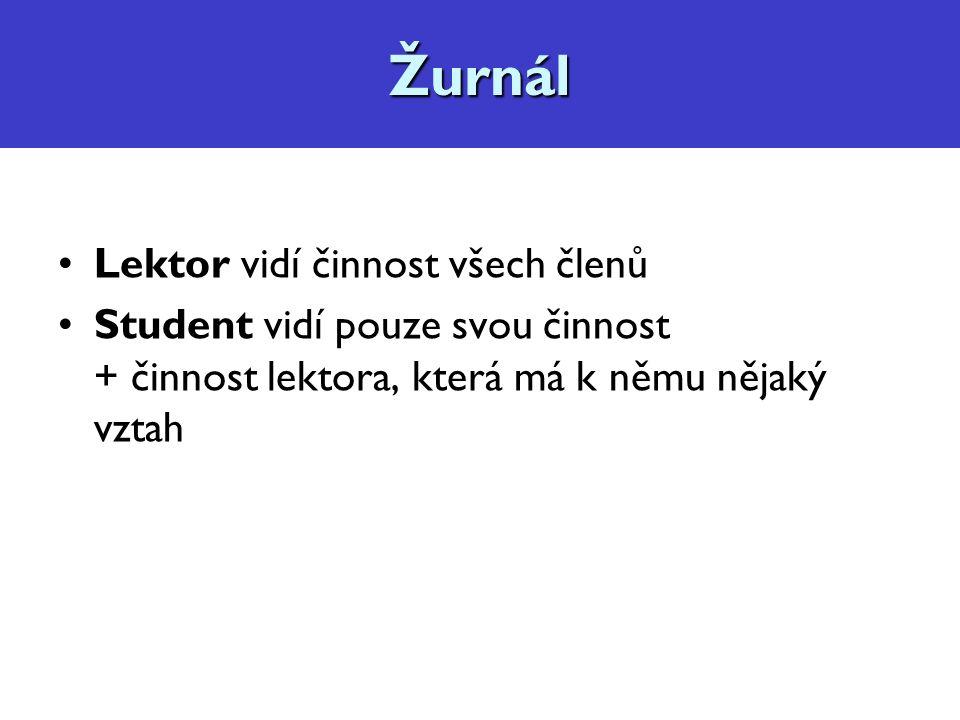 Diskuzní fórum, konzultace Lektor vidí činnost všech členů Student vidí pouze svou činnost + činnost lektora, která má k němu nějaký vztahŽurnál