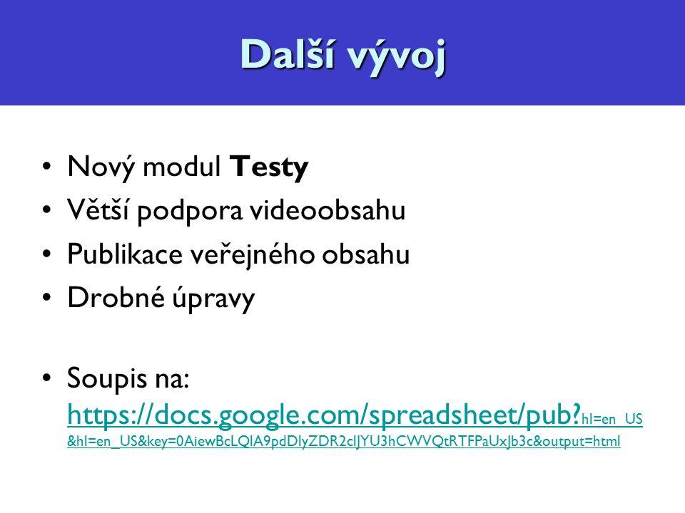 Diskuzní fórum, konzultace Nový modul Testy Větší podpora videoobsahu Publikace veřejného obsahu Drobné úpravy Soupis na: https://docs.google.com/spreadsheet/pub.