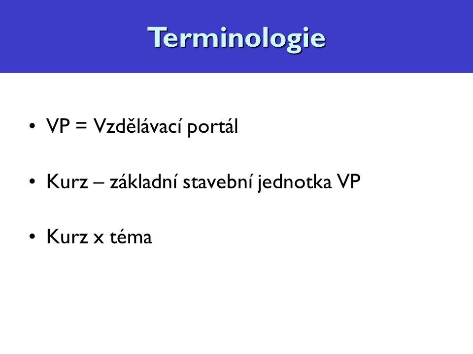 Terminologie VP = Vzdělávací portál Kurz – základní stavební jednotka VP Kurz x témaTerminologie