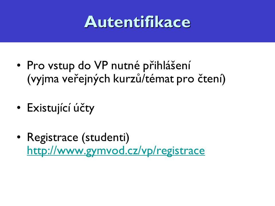 Autentifikace Pro vstup do VP nutné přihlášení (vyjma veřejných kurzů/témat pro čtení) Existující účty Registrace (studenti) http://www.gymvod.cz/vp/registrace http://www.gymvod.cz/vp/registraceAutentifikace