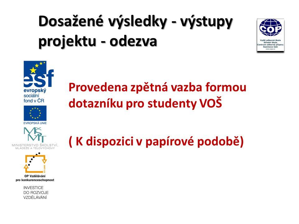 Provedena zpětná vazba formou dotazníku pro studenty VOŠ ( K dispozici v papírové podobě) Dosažené výsledky - výstupy projektu - odezva