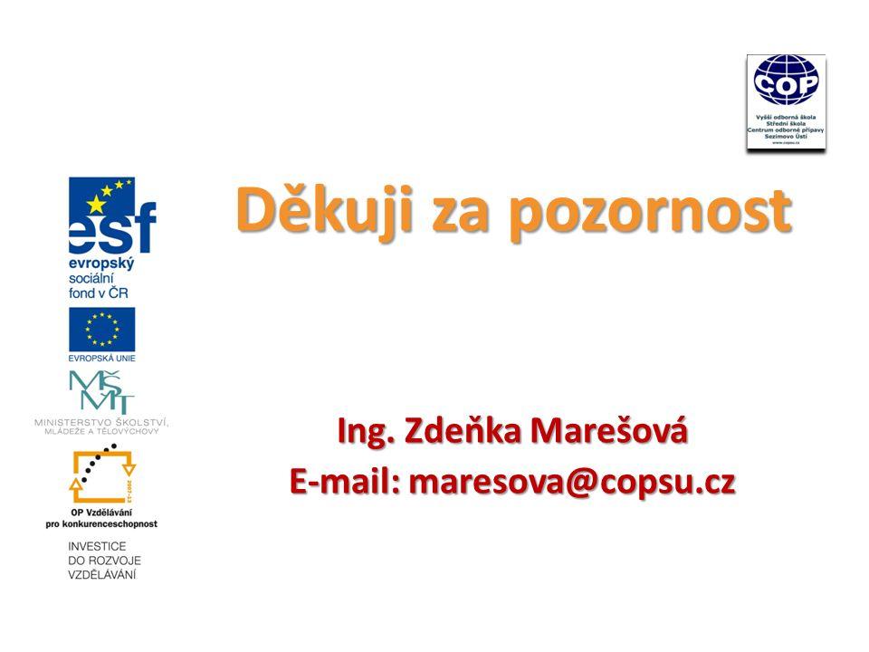 Děkuji za pozornost Ing. Zdeňka Marešová E-mail: maresova@copsu.cz