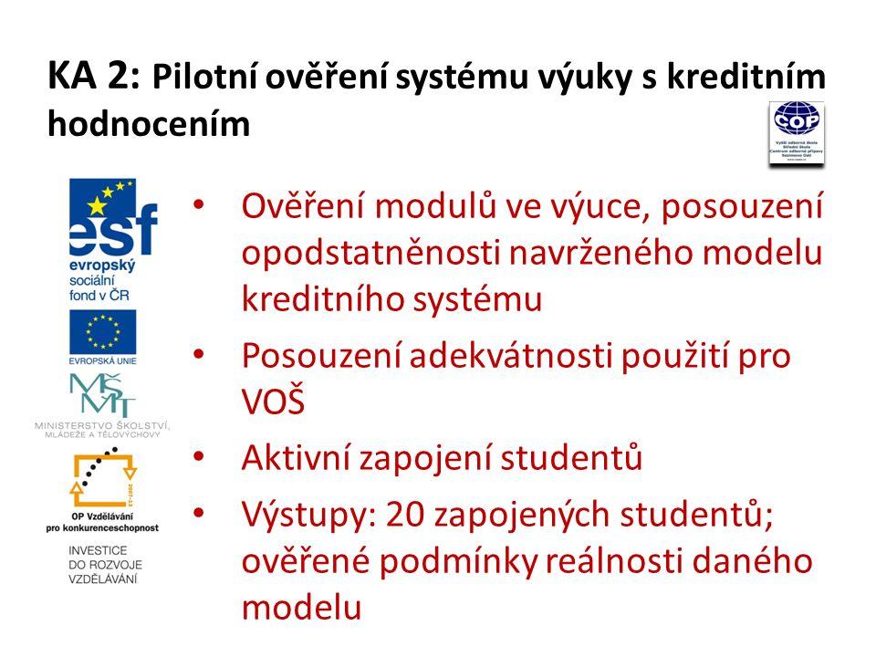 1 inovovaný vzdělávací program VOŠ se zapracovanou koncepcí návaznosti výuky na bakalářské studium 1 zpracovaná metodika k zavedení hodnocení výuky pomocí kreditního systému 20 inovovaných školních vzdělávacích modulů 20 zapojených studentů (výstupem bude i ověření podmínek reálnosti daného modelu a hodnocení výstupů vyššího odborného vzdělávání) Výstupy projektu