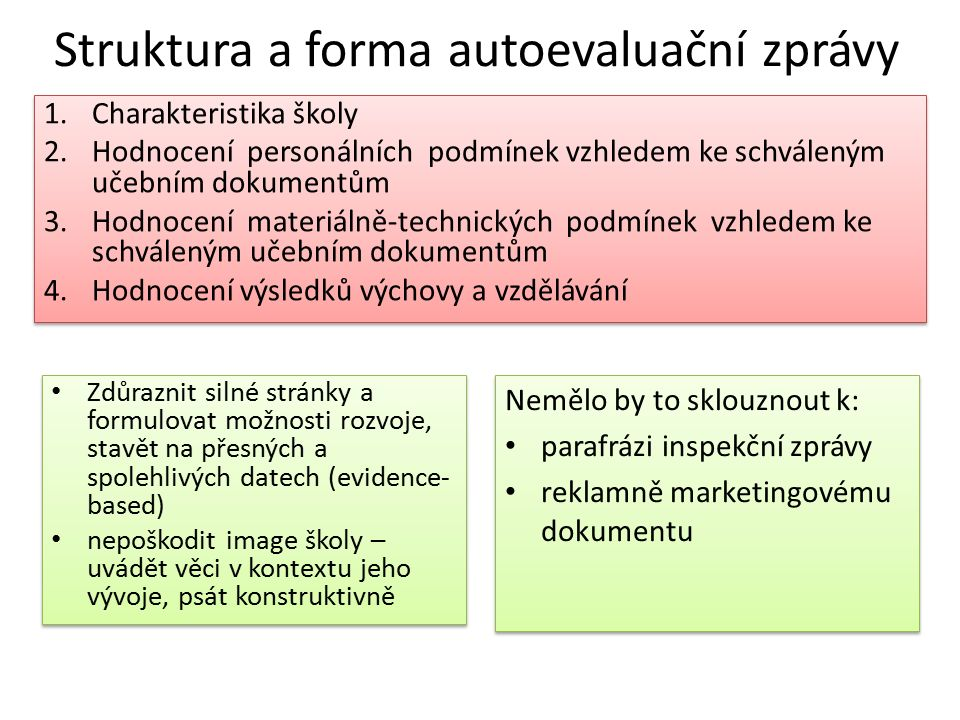 Struktura a forma autoevaluační zprávy 1.Charakteristika školy 2.Hodnocení personálních podmínek vzhledem ke schváleným učebním dokumentům 3.Hodnocení