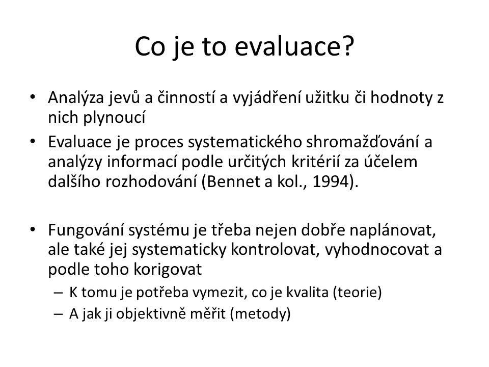 Co je to evaluace? Analýza jevů a činností a vyjádření užitku či hodnoty z nich plynoucí Evaluace je proces systematického shromažďování a analýzy inf