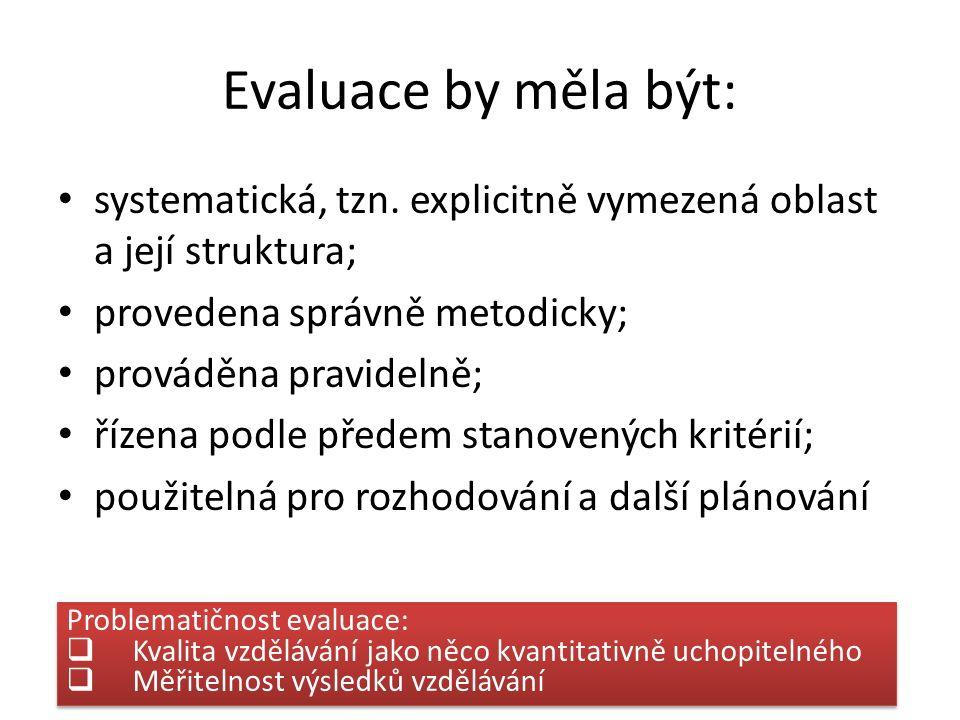 Evaluace by měla být: systematická, tzn. explicitně vymezená oblast a její struktura; provedena správně metodicky; prováděna pravidelně; řízena podle