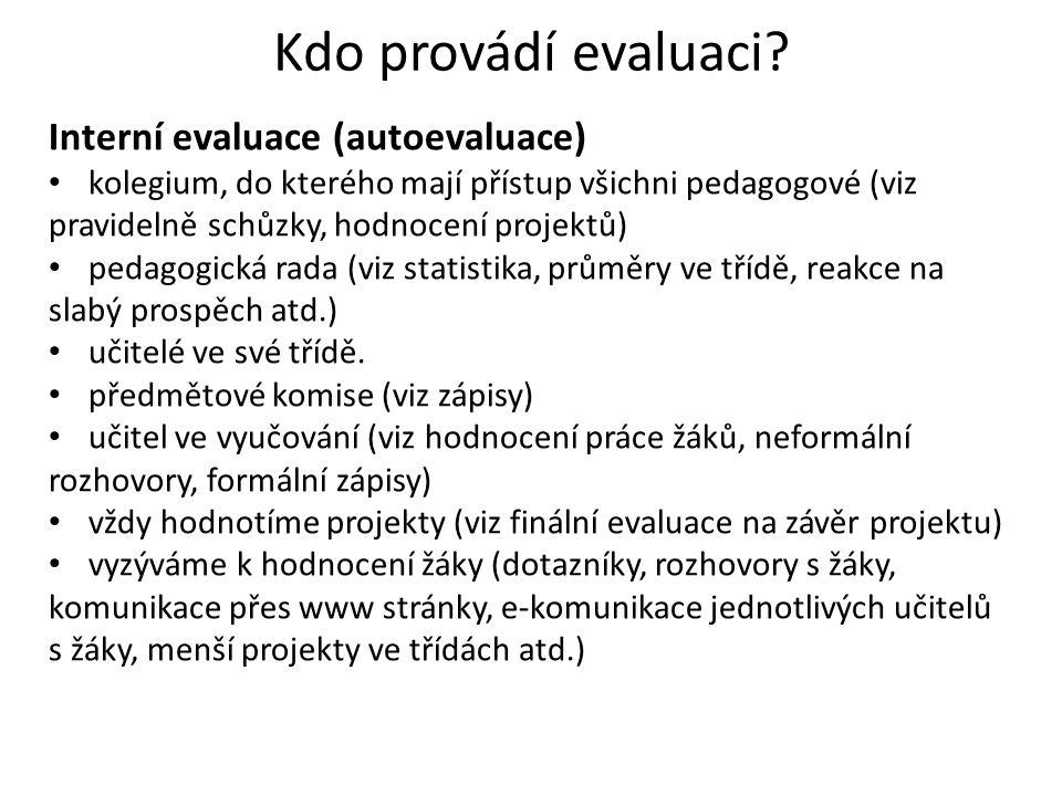 Kdo provádí evaluaci? Interní evaluace (autoevaluace) kolegium, do kterého mají přístup všichni pedagogové (viz pravidelně schůzky, hodnocení projektů