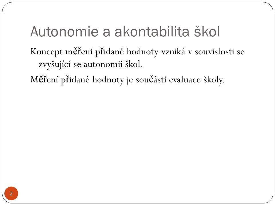 Autonomie a akontabilita škol 2 Koncept m ěř ení p ř idané hodnoty vzniká v souvislosti se zvyšující se autonomii škol. M ěř ení p ř idané hodnoty je