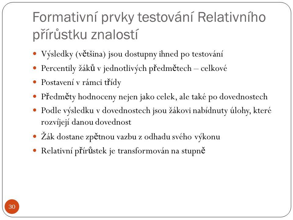 Formativní prvky testování Relativního přírůstku znalostí 30 Výsledky (v ě tšina) jsou dostupny ihned po testování Percentily žák ů v jednotlivých p ř