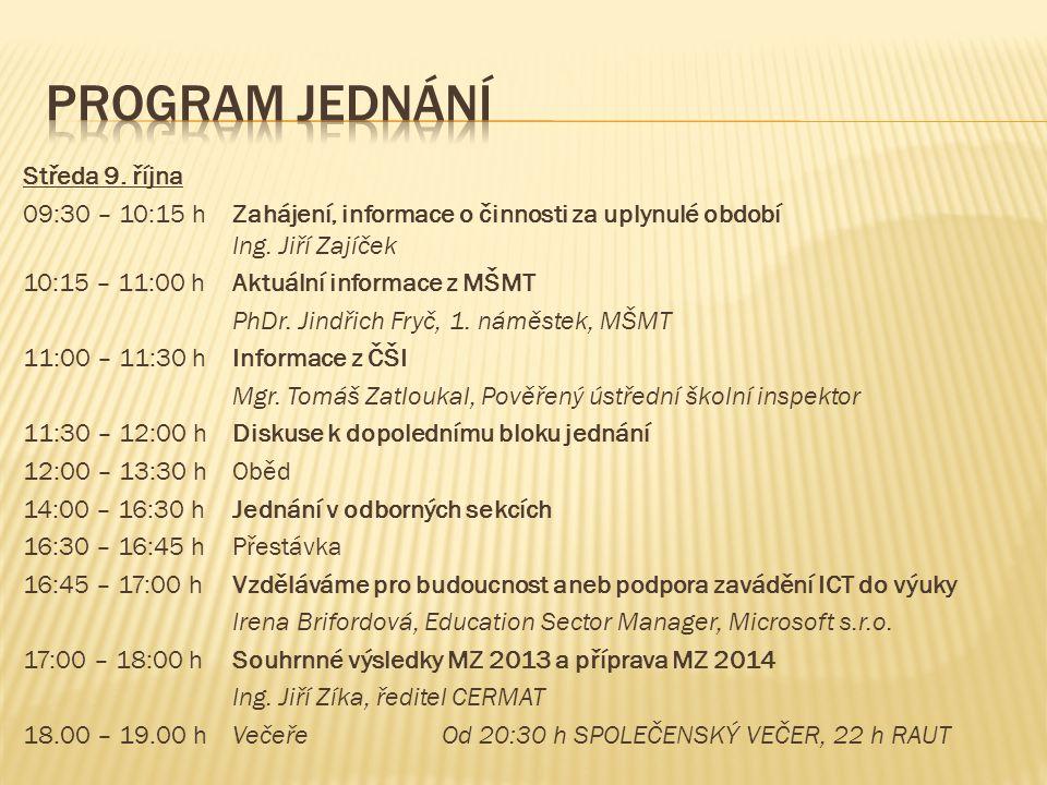 Středa 9. října 09:30 – 10:15 hZahájení, informace o činnosti za uplynulé období Ing.