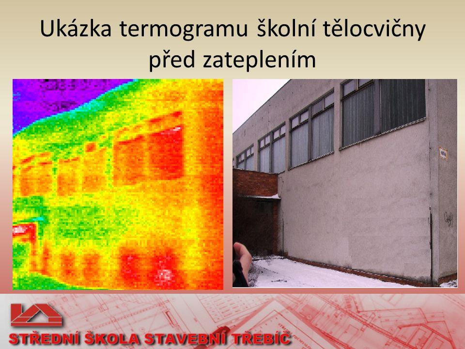 Ukázka termogramu školní tělocvičny před zateplením