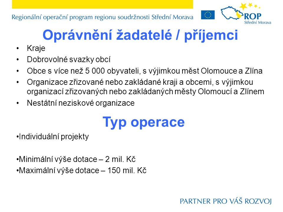 Oprávnění žadatelé / příjemci Kraje Dobrovolné svazky obcí Obce s více než 5 000 obyvateli, s výjimkou měst Olomouce a Zlína Organizace zřizované nebo zakládané kraji a obcemi, s výjimkou organizací zřizovaných nebo zakládaných městy Olomoucí a Zlínem Nestátní neziskové organizace Typ operace Individuální projekty Minimální výše dotace – 2 mil.