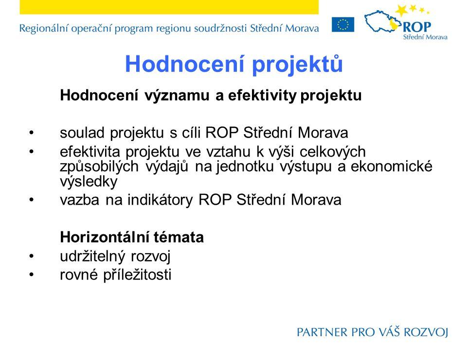 Hodnocení projektů Hodnocení významu a efektivity projektu soulad projektu s cíli ROP Střední Morava efektivita projektu ve vztahu k výši celkových způsobilých výdajů na jednotku výstupu a ekonomické výsledky vazba na indikátory ROP Střední Morava Horizontální témata udržitelný rozvoj rovné příležitosti