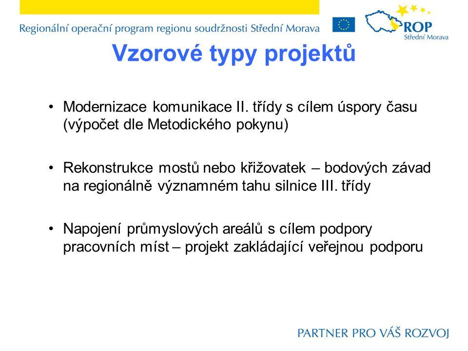 Vzorové typy projektů Modernizace komunikace II.