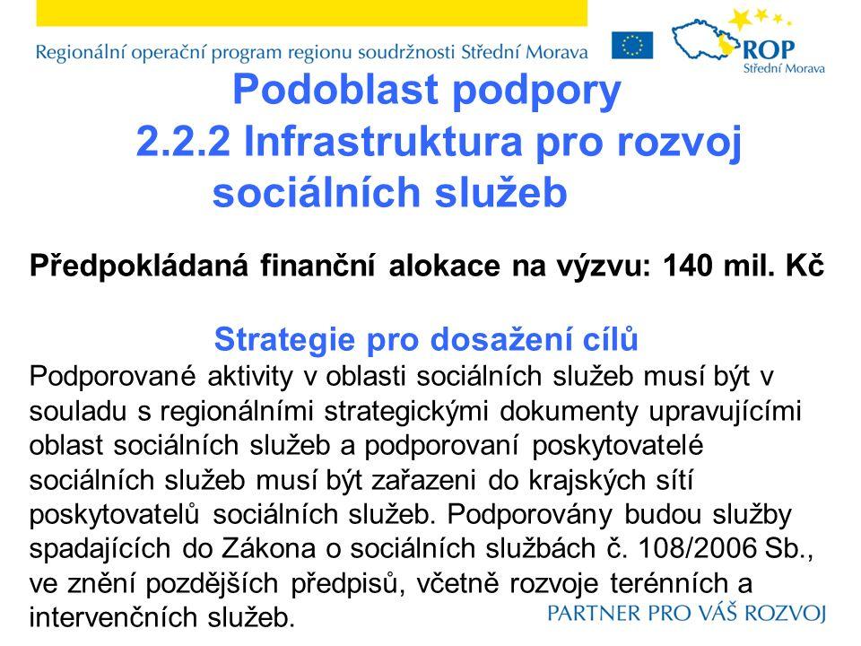 Podoblast podpory 2.2.2 Infrastruktura pro rozvoj sociálních služeb Předpokládaná finanční alokace na výzvu: 140 mil.