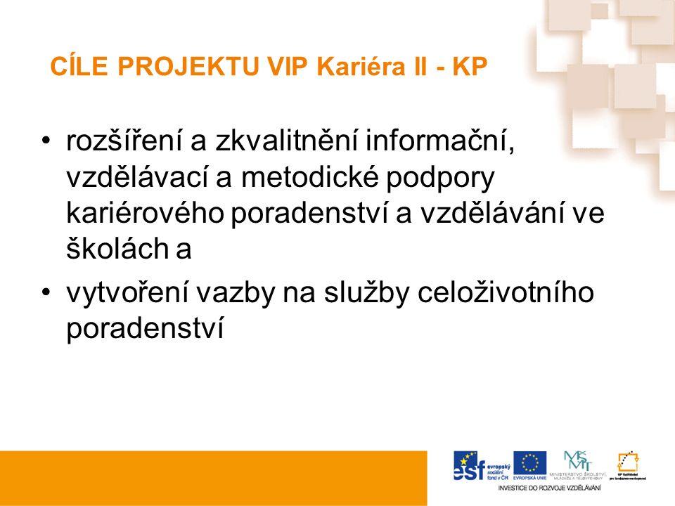 CÍLE PROJEKTU VIP Kariéra II - KP rozšíření a zkvalitnění informační, vzdělávací a metodické podpory kariérového poradenství a vzdělávání ve školách a vytvoření vazby na služby celoživotního poradenství