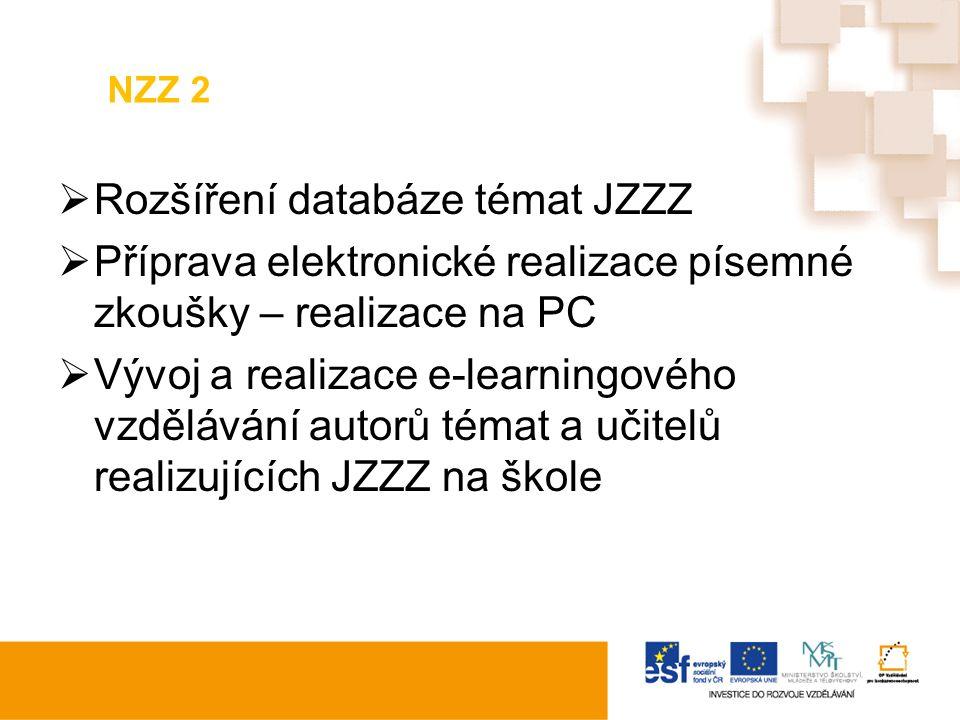 NZZ 2  Rozšíření databáze témat JZZZ  Příprava elektronické realizace písemné zkoušky – realizace na PC  Vývoj a realizace e-learningového vzdělávání autorů témat a učitelů realizujících JZZZ na škole