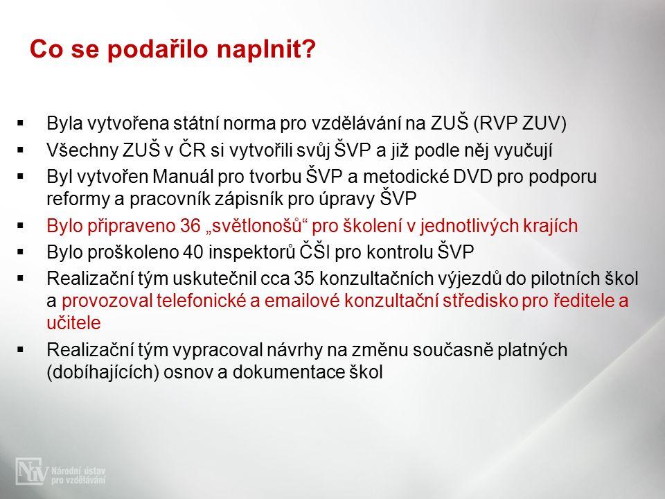 """BByla vytvořena státní norma pro vzdělávání na ZUŠ (RVP ZUV) VVšechny ZUŠ v ČR si vytvořili svůj ŠVP a již podle něj vyučují BByl vytvořen Manuál pro tvorbu ŠVP a metodické DVD pro podporu reformy a pracovník zápisník pro úpravy ŠVP BBylo připraveno 36 """"světlonošů pro školení v jednotlivých krajích BBylo proškoleno 40 inspektorů ČŠI pro kontrolu ŠVP RRealizační tým uskutečnil cca 35 konzultačních výjezdů do pilotních škol a provozoval telefonické a emailové konzultační středisko pro ředitele a učitele RRealizační tým vypracoval návrhy na změnu současně platných (dobíhajících) osnov a dokumentace škol Co se podařilo naplnit"""