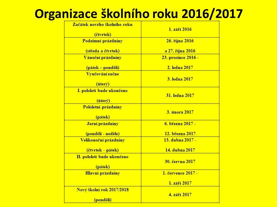 Organizace školního roku 2016/2017 Začátek nového školního roku (čtvrtek) 1.