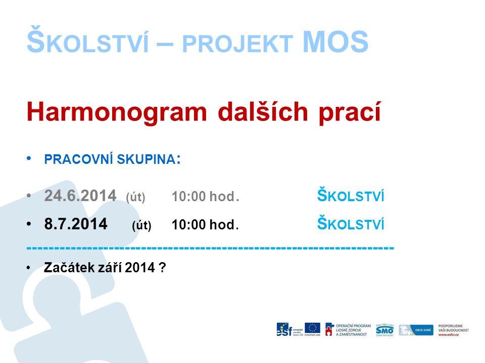 Š KOLSTVÍ – PROJEKT MOS Harmonogram dalších prací PRACOVNÍ SKUPINA : 24.6.2014 (út) 10:00 hod.
