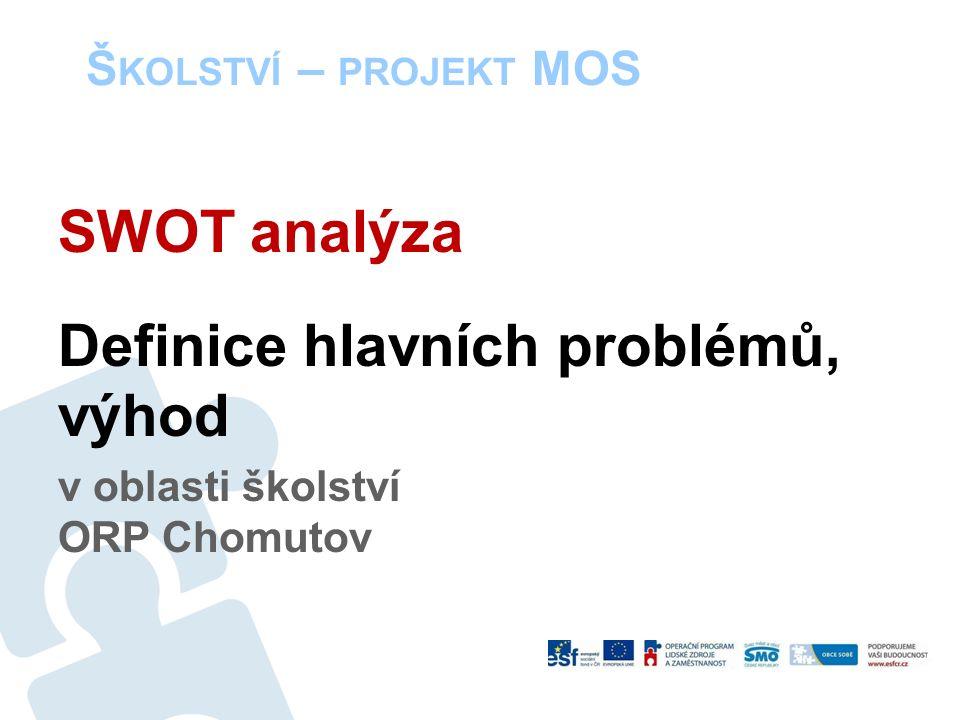 Š KOLSTVÍ – PROJEKT MOS SWOT analýza Definice hlavních problémů, výhod v oblasti školství ORP Chomutov