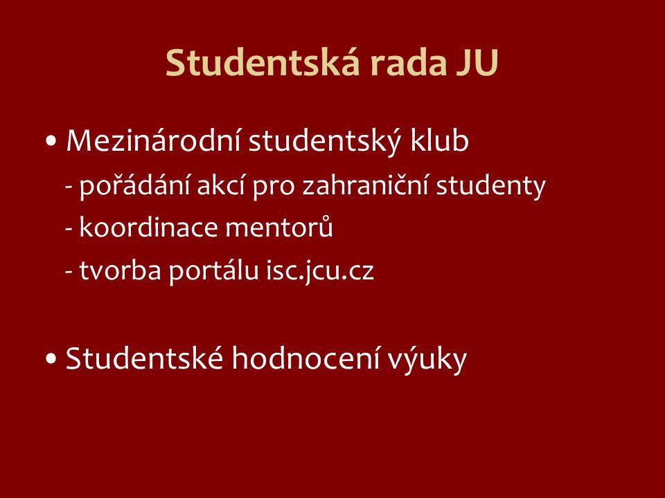 Studentská rada JU Mezinárodní studentský klub - pořádání akcí pro zahraniční studenty - koordinace mentorů - tvorba portálu isc.jcu.cz Studentské hodnocení výuky