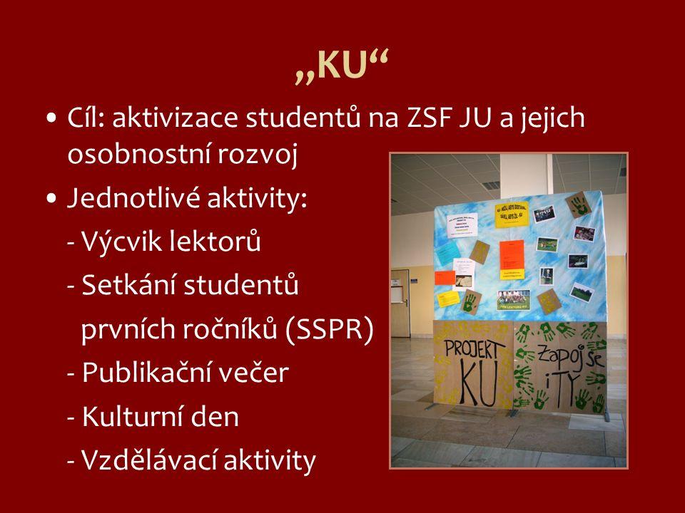 """""""KU"""" Cíl: aktivizace studentů na ZSF JU a jejich osobnostní rozvoj Jednotlivé aktivity: - Výcvik lektorů - Setkání studentů prvních ročníků (SSPR) - P"""