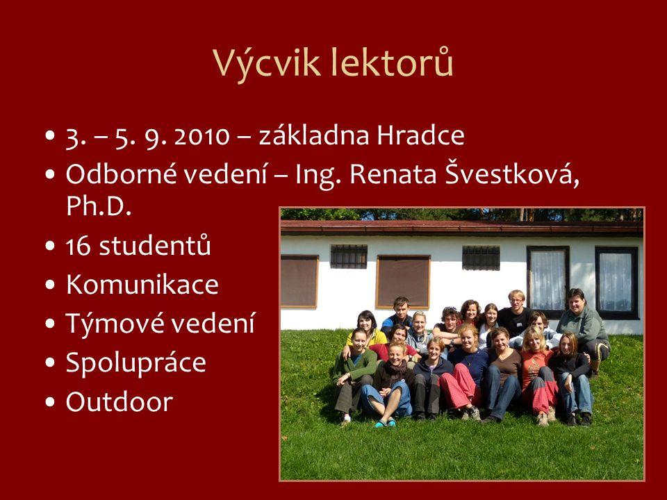 Výcvik lektorů 3.– 5. 9. 2010 – základna Hradce Odborné vedení – Ing.