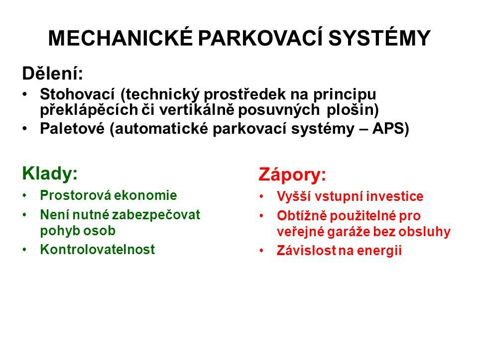 MECHANICKÉ PARKOVACÍ SYSTÉMY Dělení: Stohovací (technický prostředek na principu překlápěcích či vertikálně posuvných plošin) Paletové (automatické parkovací systémy – APS) Klady: Prostorová ekonomie Není nutné zabezpečovat pohyb osob Kontrolovatelnost Zápory: Vyšší vstupní investice Obtížně použitelné pro veřejné garáže bez obsluhy Závislost na energii