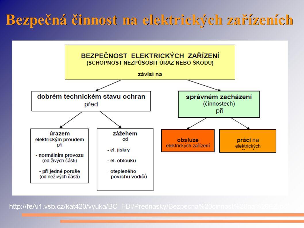 Bezpečná činnost na elektrických zařízeních http://feAi1.vsb.cz/kat420/vyuka/BC_FBI/Prednasky/Bezpecna%20cinnost%20na%20EZ.pdf