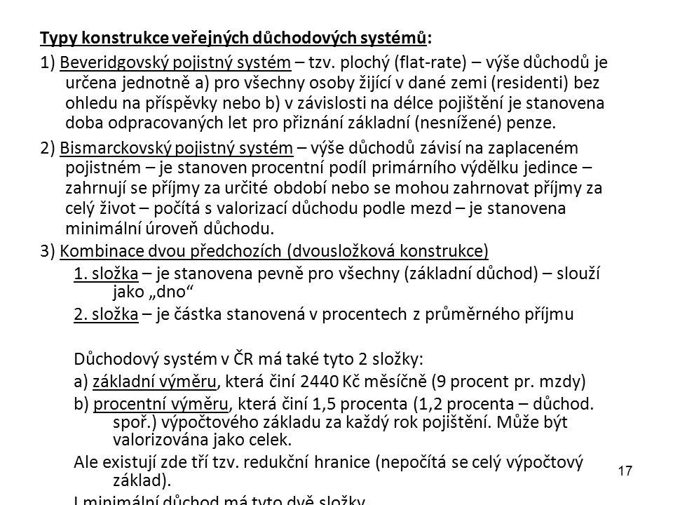Typy konstrukce veřejných důchodových systémů: 1) Beveridgovský pojistný systém – tzv.