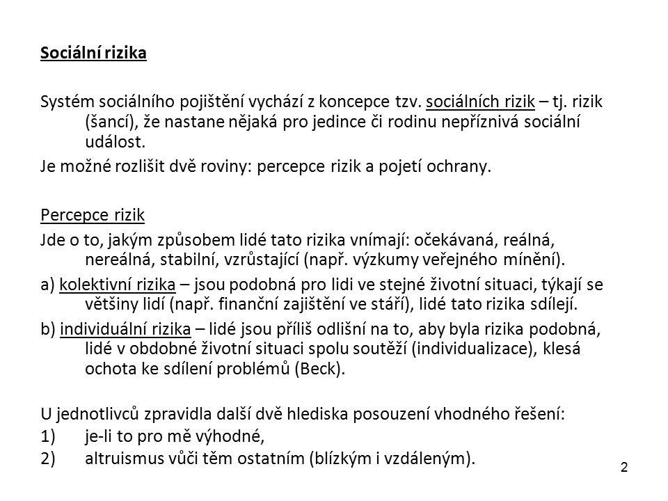Esping-Andersen (1999) definuje 3 typy rizik: 1) vyplývající ze životního cyklu – (stáří, nemoc, úraz, ztráta živitele, invalidita...) Mohou být důsledkem pracovního uplatnění či změn v institucích rodiny (rodina je méně schopná poskytovat sociální ochranu) 2) rizika na základě příslušnosti ke třídě – největší problémy s nejnižší, nekvalifikovanou třídou, dále transit class (= často nezaměstnaní, nestálé zaměstnání...), bezdomovci 3) mezi-generační rizika – v posledním období narůstá jejich význam a) mezigenerační přenos rizik v nerovnostech (kumulace rizik z rodiny na děti – horší přístup ke vzdělání – problém s prací..), proto tržní společnost požaduje rovné šance, znevýhodnění ztrácejí motivaci k sociální participaci, když vědí, že jsou předem znevýhodnění b) problém dosáhnout tzv.