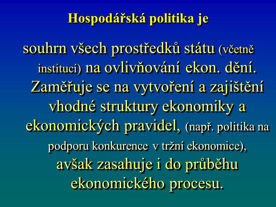 Hospodářská politika je souhrn všech prostředků státu (včetně institucí) na ovlivňování ekon.