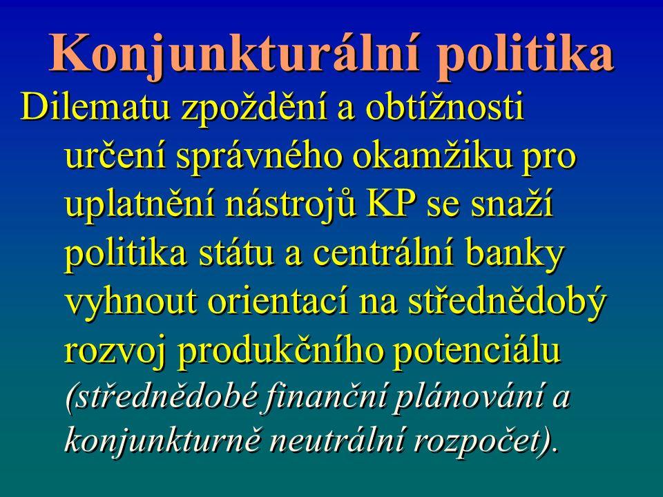 Konjunkturální politika Dilematu zpoždění a obtížnosti určení správného okamžiku pro uplatnění nástrojů KP se snaží politika státu a centrální banky vyhnout orientací na střednědobý rozvoj produkčního potenciálu (střednědobé finanční plánování a konjunkturně neutrální rozpočet).