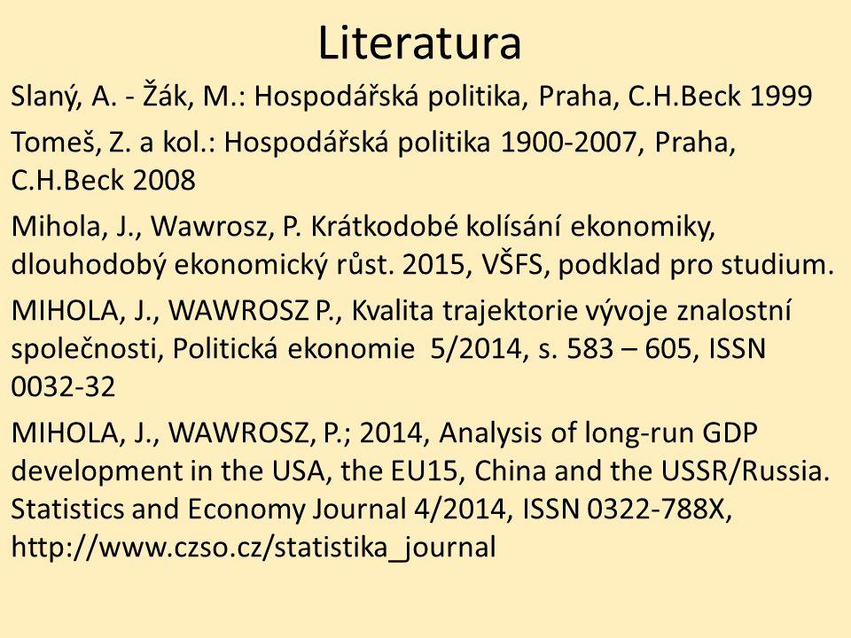 Literatura Slaný, A. - Žák, M.: Hospodářská politika, Praha, C.H.Beck 1999 Tomeš, Z.