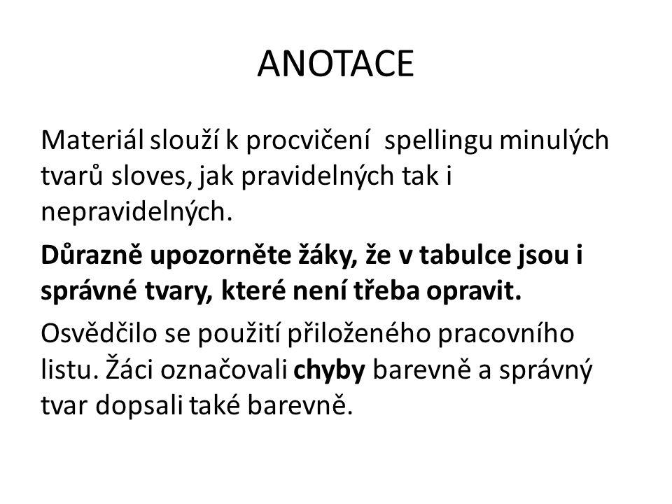 ANOTACE Materiál slouží k procvičení spellingu minulých tvarů sloves, jak pravidelných tak i nepravidelných.