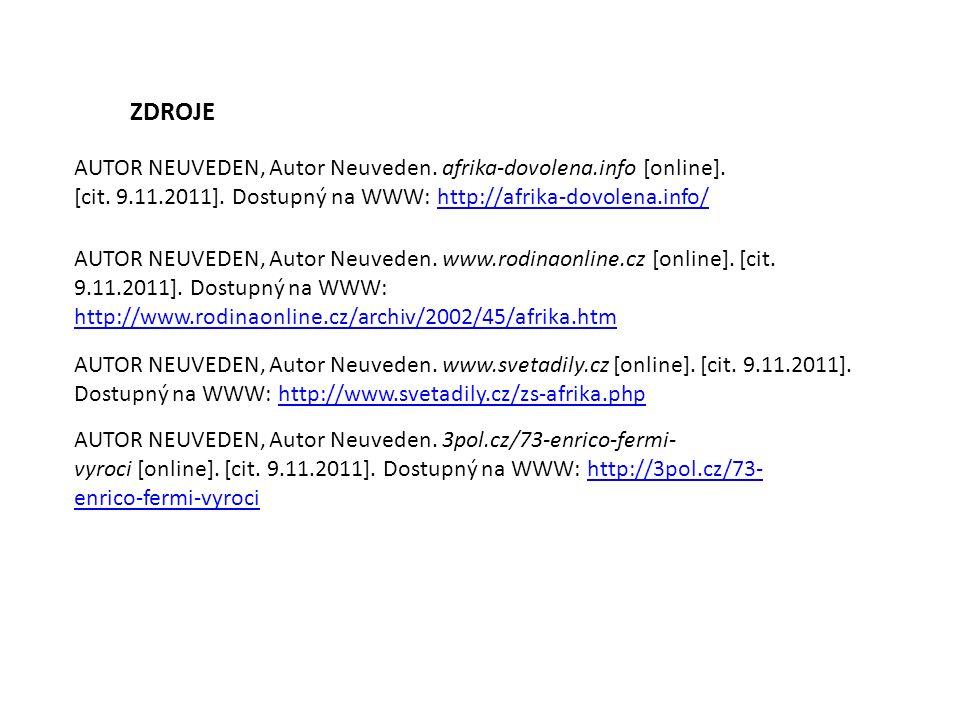 ZDROJE AUTOR NEUVEDEN, Autor Neuveden. www.svetadily.cz [online].