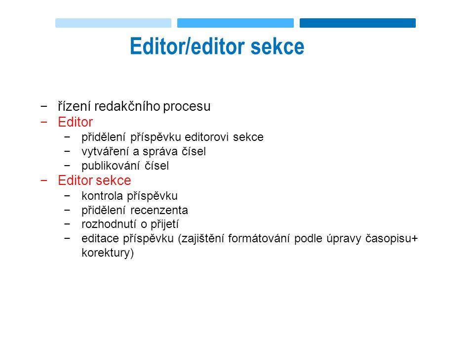 Editor/editor sekce −řízení redakčního procesu −Editor −přidělení příspěvku editorovi sekce −vytváření a správa čísel −publikování čísel −Editor sekce −kontrola příspěvku −přidělení recenzenta −rozhodnutí o přijetí −editace příspěvku (zajištění formátování podle úpravy časopisu+ korektury)